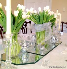 Holiday Tabletop Ideas | White Tulips + Silver Ornaments + Mirrors
