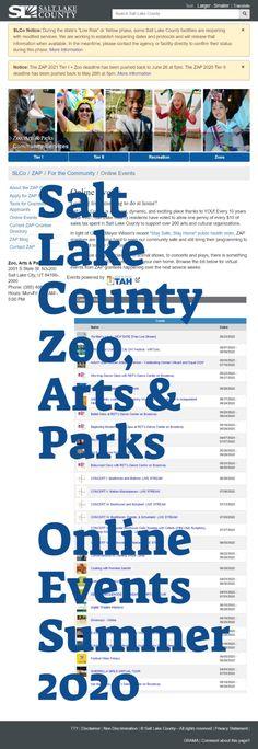 Online Events Listing - Salt Lake County Zoo, Arts & Parks (ZAP) Program, Summer 2020
