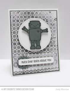 Bionic Bots stamp set and Die-namics, Simply Circles Background, Double Stitched Circle STAX Die-namics, Sentiment Strips Die-namics, Time Pieces Die-namics - Jody Morrow #mftstamps