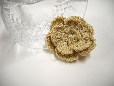 Gold Boutonniere, Crocheted Brooch Pin, Flower Lapel Pin, Womens Accessories, Weddings, Scarf Pins, Gold