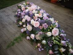Pink and Purple coffin spray Casket Flowers, Grave Flowers, Funeral Flowers, Diy Flowers, Flower Decorations, Wedding Flowers, Funeral Floral Arrangements, Church Flower Arrangements, Casket Sprays