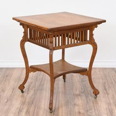 This Eastlake End Table Is Featured In A Solid Wood With A Rustic Light Oak  Finish