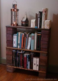 In this tutorial we show you exactly how to build a brick book shelf to give your home a really unique, rustic and character-rich piece of furniture. Distressed Furniture, Painted Furniture, Furniture Makeover, Home Furniture, Office Furniture, Brick Shelves, Brick And Wood, Diy Storage, Decoration