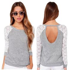 New 2017 Fashion Brand T Shirt Women Long Sleeve Sexy Lace Crochet T-Shirt Embroidery Slim Casual Tops Plus Size KH861179