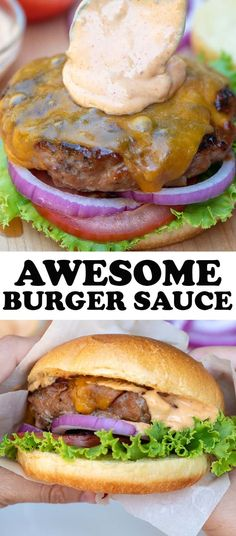 This Awesome Burger Sauce adds that classic, all-American flavor to your favorit. - This Awesome Burger Sauce adds that classic, all-American flavor to your favorite burger recipe. Best Burger Sauce, Burger Sauces Recipe, Grilled Burger Recipes, Best Burger Recipe, Sauce Recipes, Beef Recipes, Vegan Recipes, Cooking Recipes, Aioli Recipe For Burgers