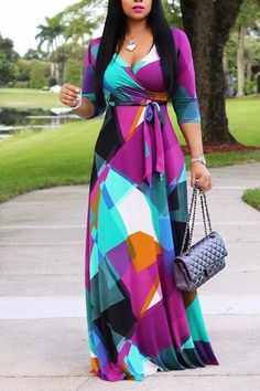 b8e2509ddb443 Catch the wonderful street look with this V neck maxi dress!Shop it at  forevershe!