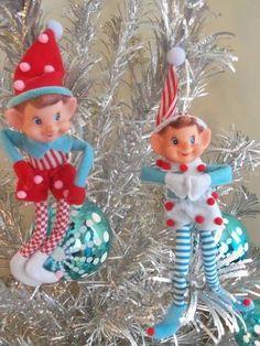 Christmas Tree Felt ELF PIXIE Ornaments    PaIR ReTrO Knee Huggers Elves