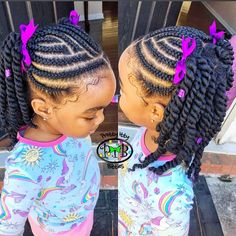 Natural hair vibes💜 Braids + twist ———————————————- Book your PIBS next ѕℓαу today! (Link in bio) Kids Cornrow Hairstyles, Toddler Braided Hairstyles, Toddler Braids, Lil Girl Hairstyles, Black Kids Hairstyles, Natural Hairstyles For Kids, Braids For Kids, Natural Hair Styles, Easy Hairstyles