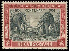 Emisión 13-01-1951 Motivo Centenario Indian Geological Survey Se muestra a dos Stegodon ganesa Primer sello representando animales prehistoricos