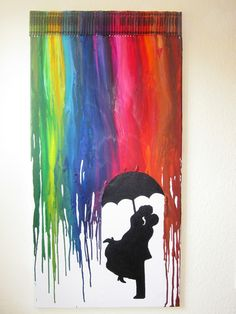 Kreativ oder Primitiv?: Crayon Art - Pärchen im Regen