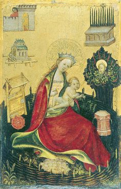 """Madonna with child in the """"hortus conclusus"""" (1410) by petrus.agricola, via Flickr"""