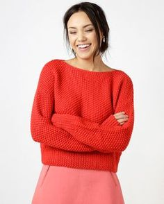Patron tricot du pull Superbowl Sweater - Wool and the gang - Marie Claire Knitting Kits, Easy Knitting, Double Knitting, Knitting Patterns, Knitting Ideas, Diy Vetement, Knit Basket, Moss Stitch, Knitwear