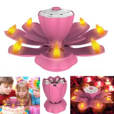297557ee4c5f Flameless LED Birthday Candles Musical Lotus Rotating LED Birthday  Flameless Candles 3 Modes Flickering Birthday Candle Light for Birthday  Party Christmas ...