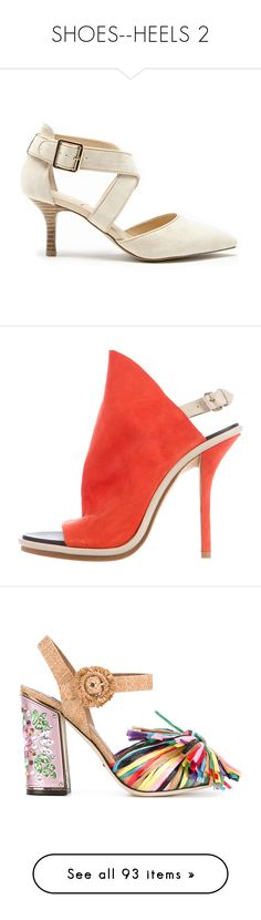 """SHOES--HEELS 2"" by kareng-357 ❤ liked on Polyvore featuring shoes, pumps, adobe, pointed-toe pumps, mid-heel shoes, mid-heel pumps, mid heel pumps, sole society, sandals and orange"