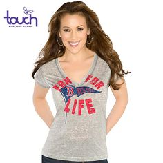 Touch by Alyssa Milano Boston Red Sox Inbounds Heather Gray T-Shirt, $25 via Shop.MLB.Com --- I recently was gifted with two very cute Red Sox necklaces, but I lack the proper Red Sox v-neck tees (mine are all scoop necks) to show them off with!
