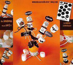 Halloween: des chamallows terrifiants !  Planche déco à télécharger