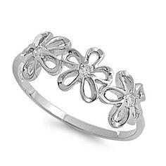 Sterling Silver Plumeria Clear CZ Ring Rhodium Finish Flower Band 925 Italy New   eBay $11.99