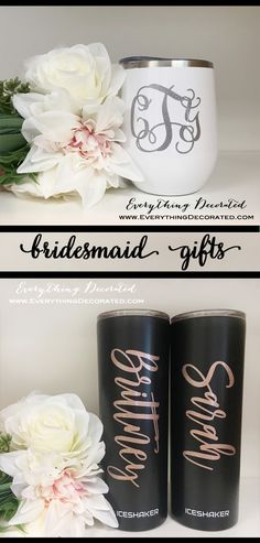 Looking for the perfect bridesmaid gift? Monogrammed stemless wine cups or personalized tumblers are always a good idea! Great for keeping your drinks hot or cold! Monogram Cups, Diy Monogram, Personalized Bridesmaid Gifts, Personalized Tumblers, Etched Mason Jars, Bachelorette Party Gifts, Silhouette Projects, Cold, Wedding Ideas