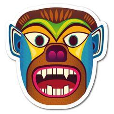 Sticker de mascara etnica inspirada en las mascaras andinas del ecuador