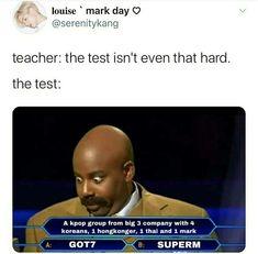 Kdrama Memes, Funny Kpop Memes, Exo Memes, Stupid Funny Memes, Funny Relatable Memes, Dankest Memes, Got7 Funny, Got7 Meme, Nct