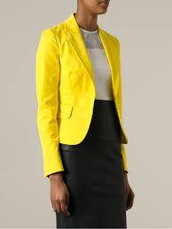 Yellow cropped blazer
