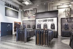 One 800 square meters fashion of the label CAMP DAVID and the women label SOCCX are presented. The store is divided in five sections. For each line of the label the architects created a different world.