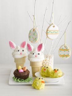 Bunny Cones, Bird's Nest Brownies, Doughnut Peeps, and Easter Egg Cookies