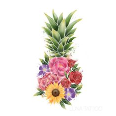 The two things I love most combined 🌻🌼🍍 😋 Would love to tattoo this floral pineapple (prefer forearm or thigh) Pineapple Flowers, Pineapple Art, Body Art Tattoos, Cool Tattoos, Tatoos, Pinapple Tattoos, Pineapple Pictures, Pineapple Drawing, Future Tattoos