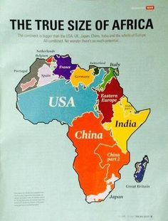 Maps make USA seem bigger than Africa when it's not. Comparative size of continents on Africa. Afrique Francophone, World Geography, Human Geography, Art Africain, Black History Facts, African Girl, Historical Maps, African American History, World History