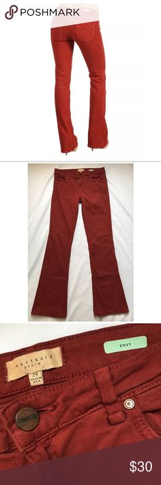"""Anthropologie Sanctuary Denim Envy Flare Long Anthropologie Sanctuary Denim Colored Jeans in Rhubarb size 29 Long/ Tall Button and zip fly Classic 5 pocket style  Flare opening is 10.5"""" Waist 15"""" Rise 9"""" Inseam 35"""" Sanctuary Jeans Flare & Wide Leg"""