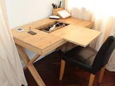 Mesa genial para o escritório ou home office, escondendo os fios e tomadas - por Finoak LTD