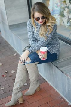 Cozy winter outfit idea - a turtleneck sweater and knee high boots make for such an easy winter outfit! Click through for more of this simple winter look.