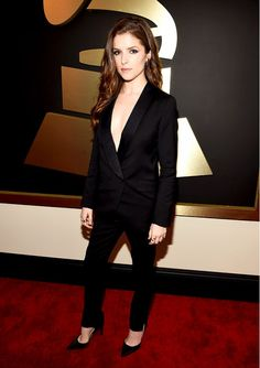 Anna Kendrick stunned in this simple black tux, sans shirt at the 2015 Grammys