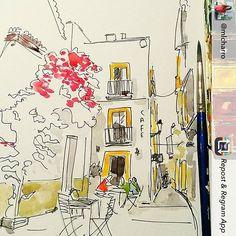 Repost from @mlcharro Work in progress - pretty little street in Tarifa, Spain. Part of a new print for the area. #tarifa #summer #street #urbansketch #urbansketchers #bouganvilla #spain #beauty #surfsup #tousrist #souvenir #prints #watercolour #illustrations #winsorandnewton #draw #mercedeslopezcharro