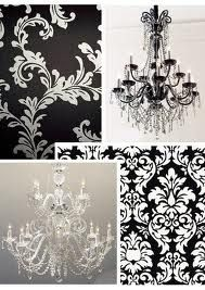 Damask + chandeliers = :)   ( I have this thing for damask and chandeliers. It makes me happy. It feels elegant yet edge. Plush, if you will. It's amazing.)