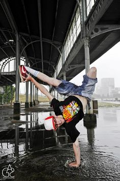 Freeze in a puddle of water. Wearing Trukfit from Urban Connexion SA.  Photo by: Sherilea Gaspar  Dancer: Bboy Lab*A (South Africa)