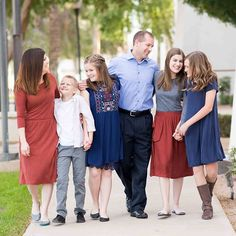 Navy, light blue, and burnt red for family pictures.  Love this!