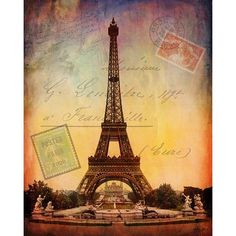 Eiffel Tower Paris France Romantic Digital Collage Landscape by... ($24) ❤ liked on Polyvore
