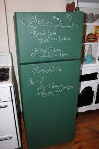 DIY Chalkboard Refrigerator - this is exactly what i am getting ready to do to mine. I am going to use the basic black chalkboard paint as we have black appliances and I feel it would look better. The kids cant wait!