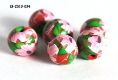 Pink Flowers on Glitter Red Beads Green Leaves Polymer Clay Handmade  | bluemorningexpressions - Jewelry Supplies on Art