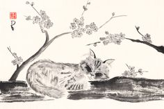 """What could be better than lounging in a tree on a sunny day? It's purrrfect.   Open edition print using archival quality materials. Each will be signed and titled on the front. Reproduction print of an original sumi-e painting on rice paper.  Image size: 12"""" x 18"""" Paper size: 13"""" x 19""""  Pr..."""