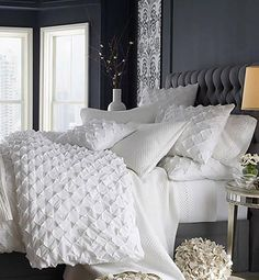 grey and white bed