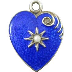 Victorian Blue Enamel Sterling and Seed Pearl Heart Charm