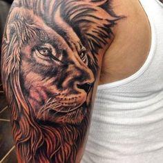 Lion Head With Detalised Hair On Shoulder