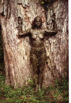 ANA MENDIETA - Arbol de la Vida - 1977 Cette artiste utilise son corps pour l'intégrer à la nature, comme une excroissance de l'arbre.