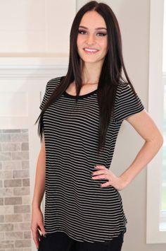 Striped Black & White Perfect Tee Top