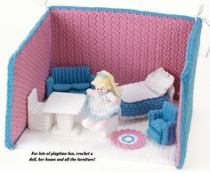 W609 Crochet PATTERN ONLY Fold Up Doll House Furniture & Doll Patterns