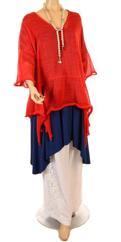 Sinne Red Linen Asymmetric Lagenlook Knit - Summer 2013-Sinne