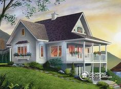 Panoramic 2 bedroom with walk-out basement and mezzanine   See interior picture, similar plans & more information here : http://www.drummondhouseplans.com/house-plan-detail/info/1002781.html