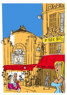 Philippe Doro : Marseille. Café Le Petit Nice. Postcard / illustration.